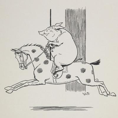 Pig Riding a Merry-go-round Horse
