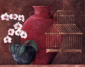 Orchids and Bird-Cage I by L. Morales