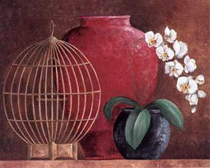 Orchids and Bird-Cage II by L. Morales