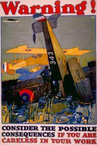 World War I American Homefront Aircraft Production War Work Poster, 1917 by L.n. Britton