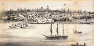 """""""View of Steilacoom, W.T."""", 1860 by L. Nagel"""