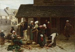 The Marketplace of Ploudalmezeau, c.1877 by L?on Augustin L'hermitte