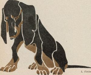 Painting in Black and Brown Colours of a Sitting Dachshund Gazing by L. Rohlwein