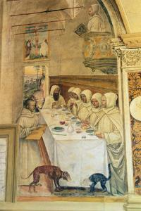 St. Benedict Finds Flour and Feeds the Monks, from the Life of St. Benedict, 1497-98 by L. Signorelli and G. Sodoma