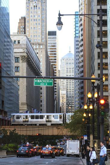 L Train on Elevated Track Crosses South Lasalle Street in the Loop District, Chicago, Illinois, USA-Amanda Hall-Photographic Print