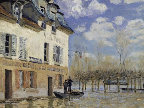 La Barque During the Flood at Port-Marly, c.1876-Alfred Sisley-Giclee Print
