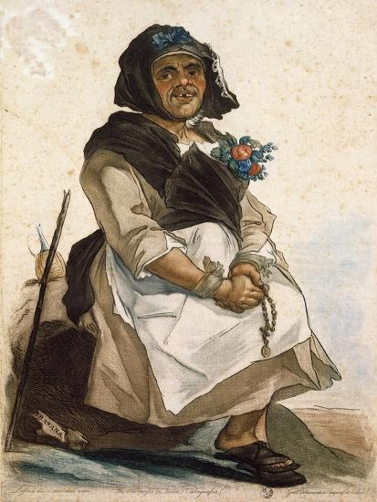 La Basana (Woman Sloppy and Disheveled), 18th Century, by Carlo Lasinio (1759-1838), Colored--Giclee Print