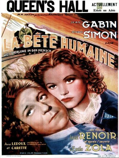 LA BETE HUMAINE, French poster, from left: Jean Gabin, Simone Simon, 1938.--Art Print