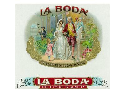 La Boda Brand Cigar Box Label-Lantern Press-Art Print