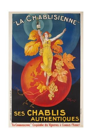 La Chablisienne, Ses Chablis Authentiques, French Wine Poster--Giclee Print