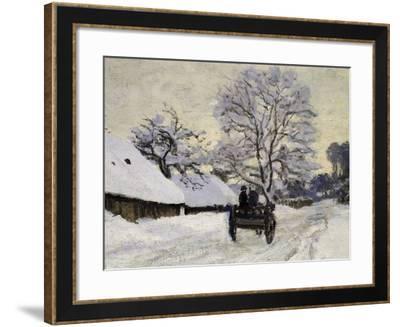 La Charrette, Route Sous La Neige À Honfleur, Cart, the Honfleur Road under Snow-Claude Monet-Framed Giclee Print