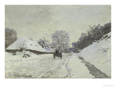 La Charrette, Route Sous La Neige a Honfleur-Claude Monet-Giclee Print