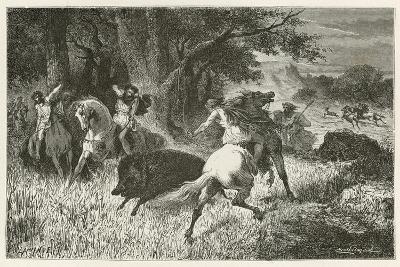 La Chasse a L'Epoque Du Fer-Emile Antoine Bayard-Giclee Print