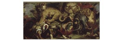 La Chasse aux lions-Eugene Delacroix-Giclee Print