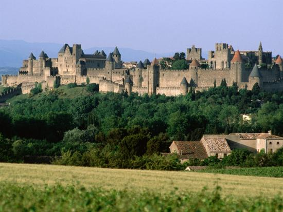 La Cite, 12th Century Castle in Distance, Carcassonne, Languedoc-Roussillon, France-John Elk III-Photographic Print