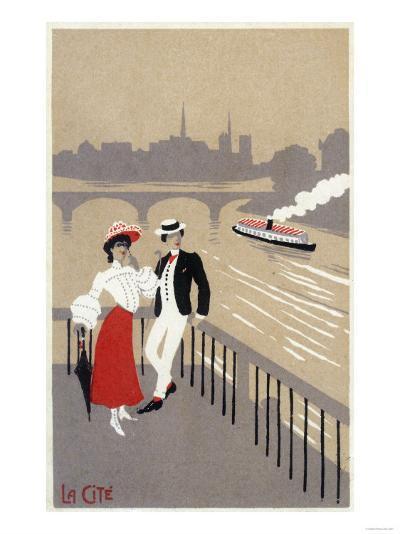 La Cite Art Deco Scene of Couple Watching Riverboat - Paris, France-Lantern Press-Art Print