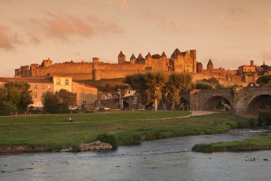 La Cite, Medieval Fortress City, Bridge over River Aude, Carcassonne, Languedoc-Roussillon, France-Markus Lange-Photographic Print