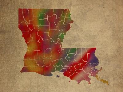 LA Colorful Counties-Red Atlas Designs-Giclee Print