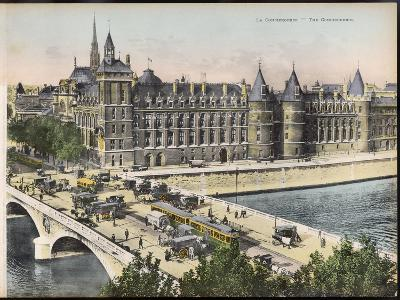 La Conciergerie, with the Pont Au Change Full of Traffic--Photographic Print