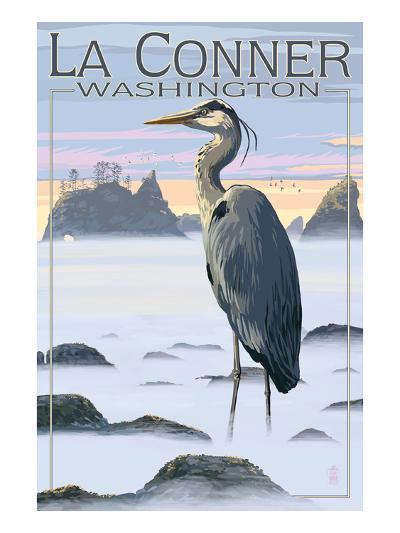 La Conner, Washington - Blue Heron-Lantern Press-Art Print