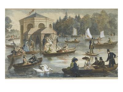 La cour à Fontainebleau. La pièce d'eau--Giclee Print