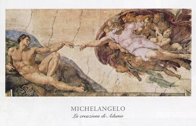 Michel-Ange Buonarroti la création d/'Adam Vintage print