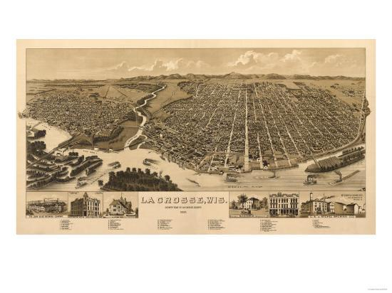 La Crosse, Wisconsin - Panoramic Map-Lantern Press-Art Print