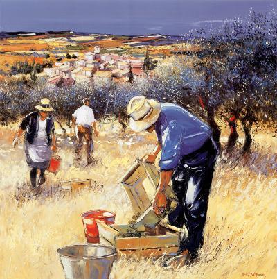 La cueillette des olives-Andre Deymonaz-Art Print