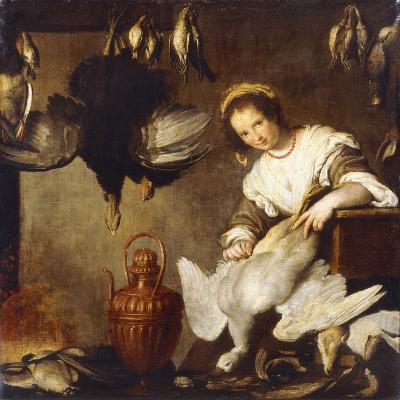 La Cuoca - a Kitchen Maid Plucking a Goose in an Interior-Bernardo Strozzi-Giclee Print
