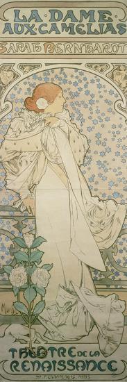 La Dame Aux Camelias with Sarah Bernhardt. Poster for the Theatre De La Renaissance, 1896-Alphonse Mucha-Giclee Print