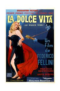 La Dolce Vita, Anita Ekberg, Argentinian Poster Art, 1960