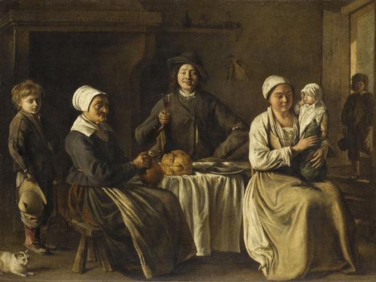 La Famille heureuse ou le retour du baptême-Louis Le Nain-Giclee Print