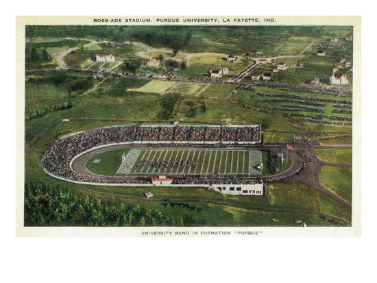 La Fayette, Indiana - Purdue University; Aerial of Ross-Ade Stadium-Lantern Press-Art Print