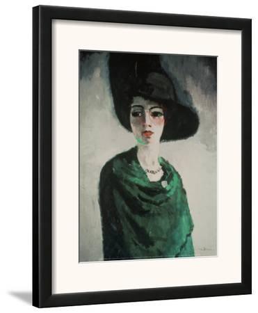 La Femme au Chapeau Noir-Kees van Dongen-Framed Art Print