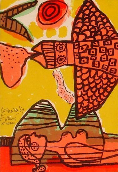 La femme et l'oiseau-Guillaume Corneille-Limited Edition