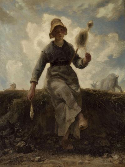 La Fileuse, chevri� auvergnate-Jean-Fran?ois Millet-Giclee Print