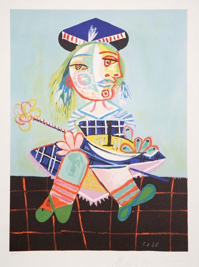 La Fille de l'Artiste Ë Deux ans et Demi Avec un Bateau, 4-B-Pablo Picasso-Premium Edition