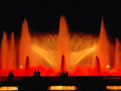 La Font Magica Lit Up at Night, Montjuic, Barcelona, Spain-Bethune Carmichael-Photographic Print