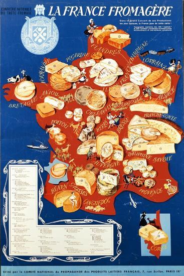 La France Fromagere', Poster Depicting the Cheeses of France--Giclee Print