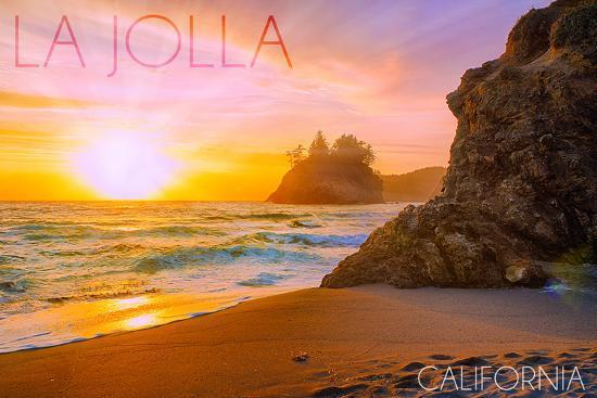 La Jolla, California - Beach at Sunset-Lantern Press-Wall Mural