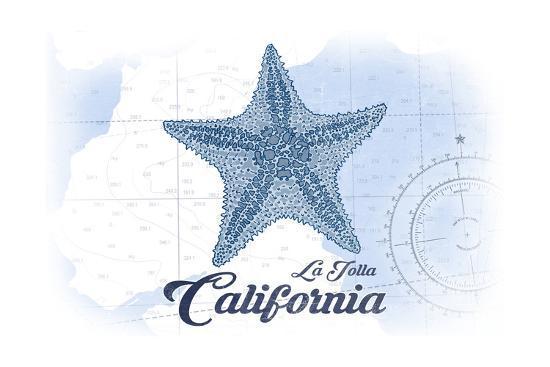 La Jolla, California - Starfish - Blue - Coastal Icon-Lantern Press-Art Print