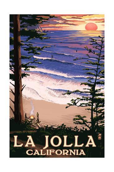 La jolla california sunset beach art print by lantern press art la jolla california sunset beachby lantern press reheart Image collections