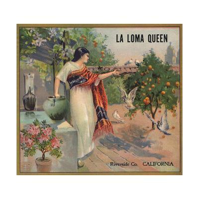 La Loma Queen Brand - Riverside, California - Citrus Crate Label-Lantern Press-Art Print