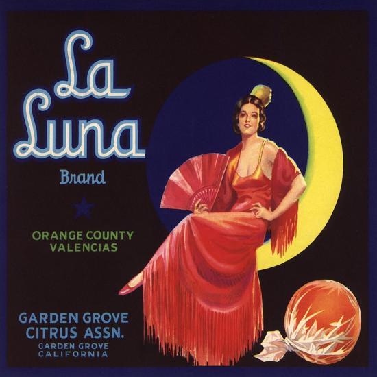 La Luna Brand - Garden Grove, California - Citrus Crate Label-Lantern Press-Art Print
