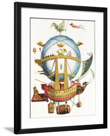 'La Minerve' (Minerva) Cartoon of French 'Air Vessel', Early 19th Century--Framed Giclee Print