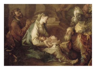 La Nativité, avec l'Adoration des mages-Charles de La Fosse-Giclee Print