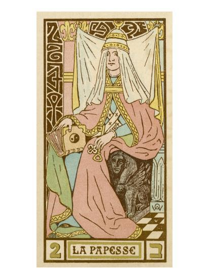La Papesse - Tarot Card Depicting Pope Joan--Giclee Print