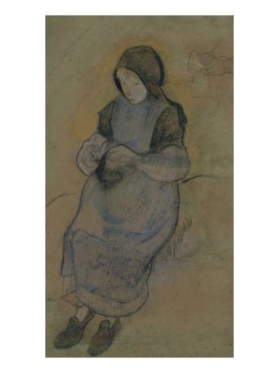La petite gardeuse de porcs assise tricotant-Paul Gauguin-Giclee Print