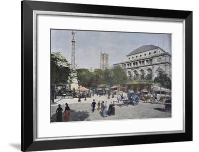 La Place Du Chatelet and Le Theatre De La Ville, Paris, C.1900--Framed Photographic Print
