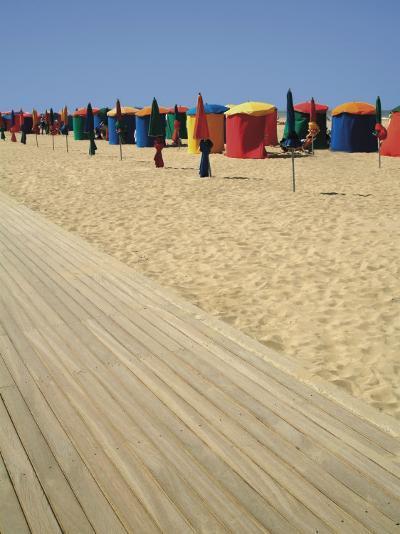 La Planche (Boadwalk) and Beach, Deauville, Calvados, Normandy, France-David Hughes-Photographic Print